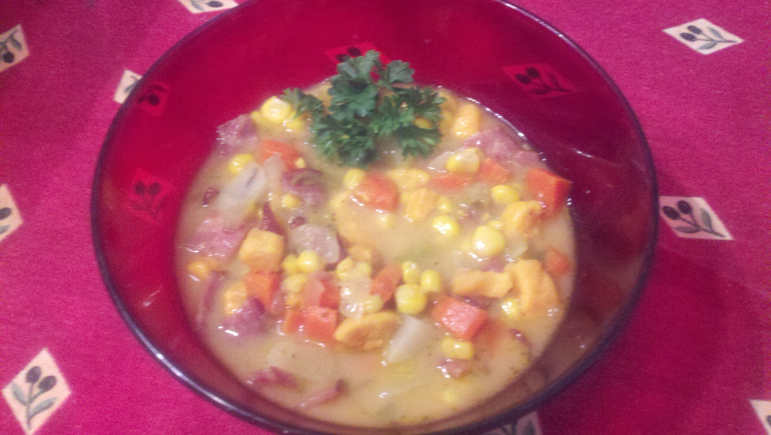 corn chowder with potato, sweet potato, onion, garlic, carrot, corn ...